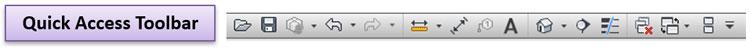 Thanh công cụ chọn lệnh nhanh, các lệnh được đưa vào đây luôn hiện hữu trên màn hình để chúng ta chọn nhanh bất kỳ lúc nào