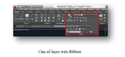 Cửa sổ layer trên Ribbon
