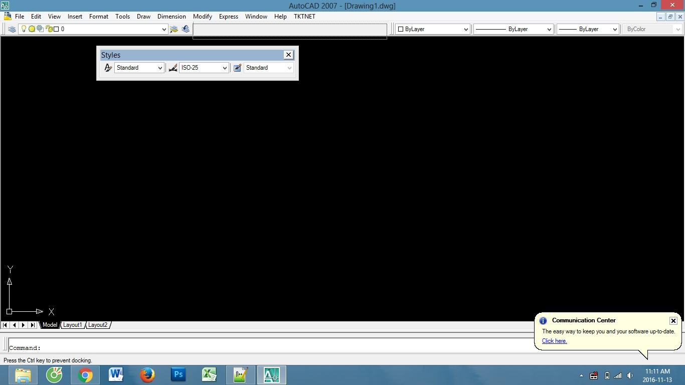 Chỉnh lại các thanh công cụ trên màn hình Autocad