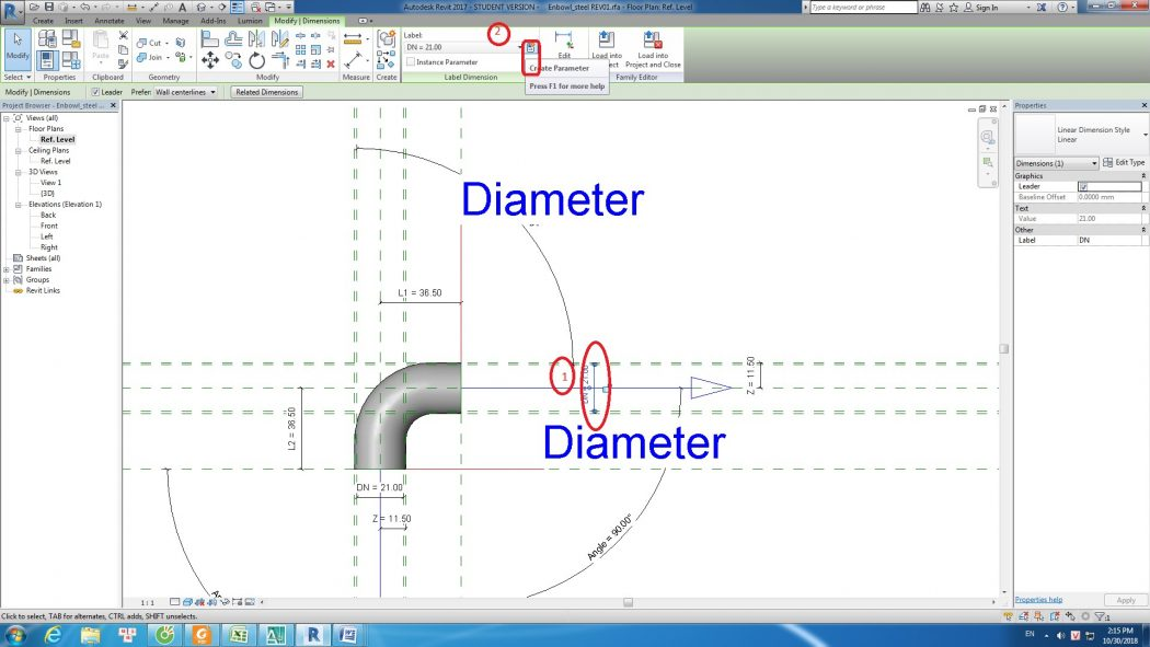 Tạo family elbow trong Revit MEP